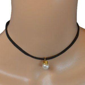 Black Rope Gold Set Pearl Choker Necklace